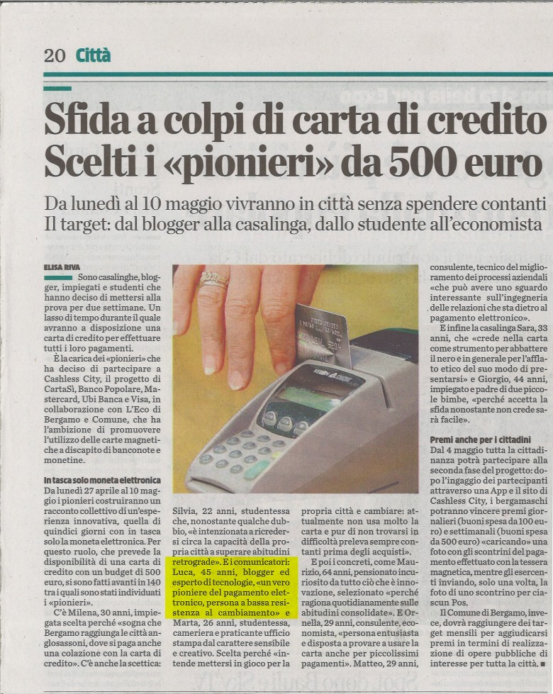 cashless city bergamo